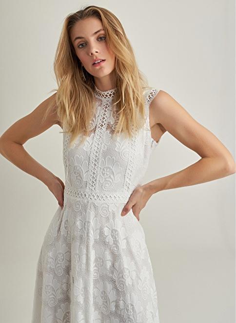 NGSTYLE Dantel Kolsuz Elbise Beyaz